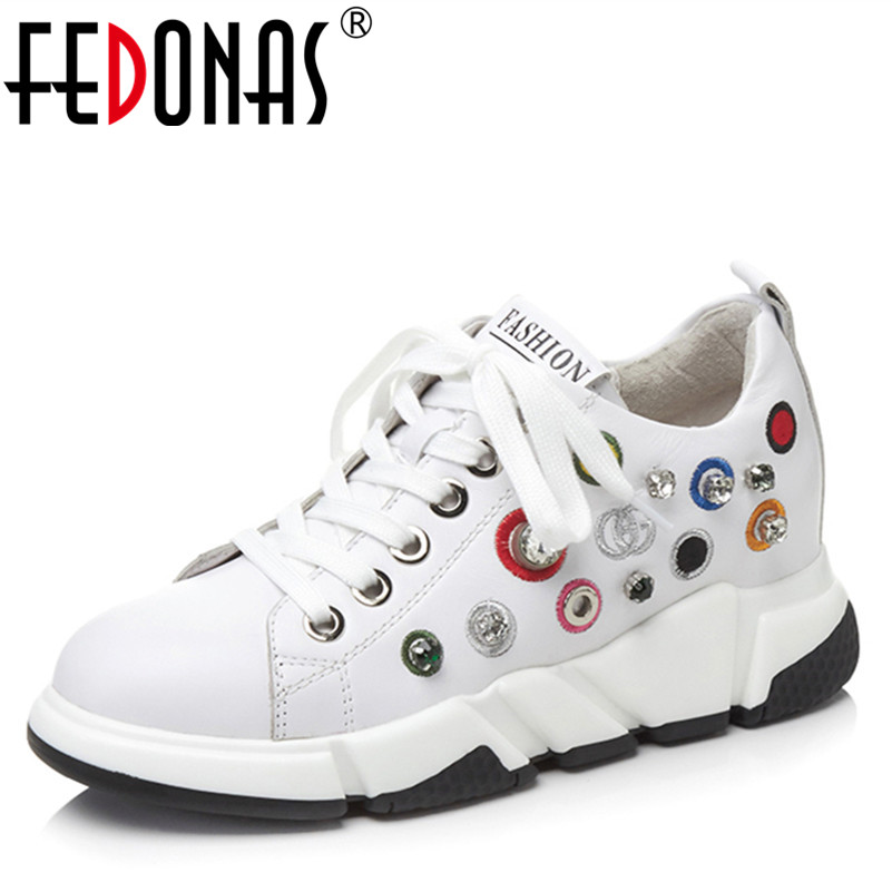 FEDONAS1Fashion Women Platforms Flats Genuine Leather Spring Autumn Sneakers Round Toe Cross-tied Casual Top Quality Shoes Woman asumer white spring autumn women shoes round toe ladies genuine leather flats shoes casual sneakers single shoes