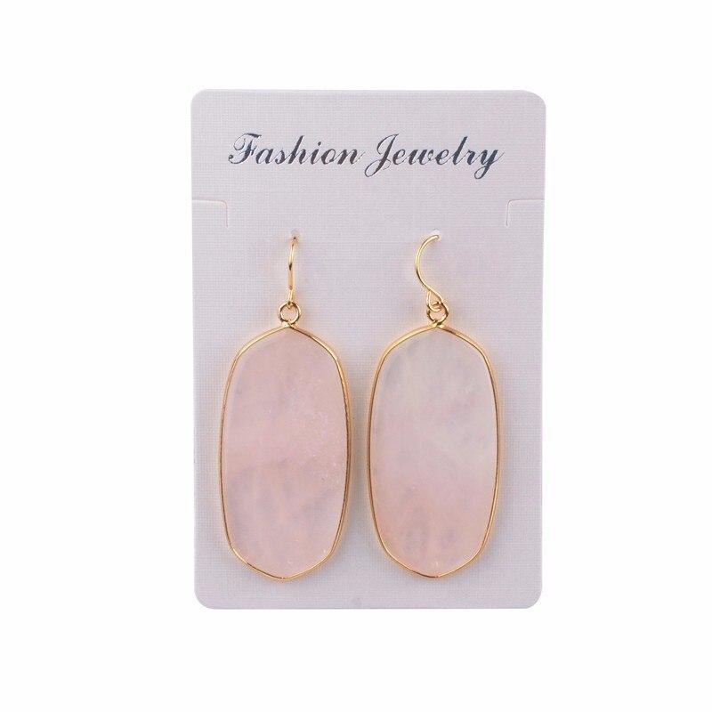 Pink Green Natural Stone Oval Shape Earrings 2018 Dangle Earrings for Women Quartz Pendientes Oorbellen Earings Fashion Jewelry