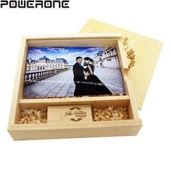 POWERONE Holz Fotoalbum usb-stick kostenloser Individuelles LOGO-stick 4GB 8GB 16GB 32GB 64GB Hochzeit Fotografie geschenke