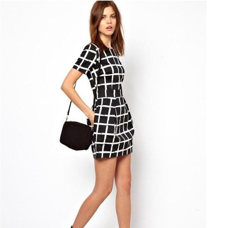 Popular Black White Plaid Dress-Buy Cheap Black White Plaid Dress ...