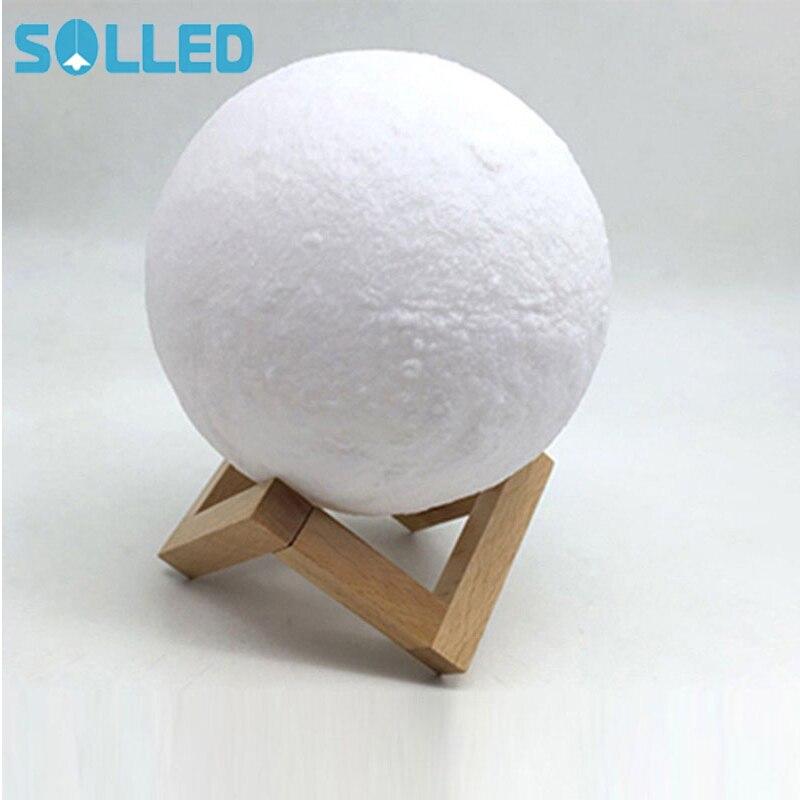 SOLLED Simulation 3D Moon Lamp LED Night Light 3 LED 3D Print USB Rechargeable Moonlight Desk Lamp with Wood Base 3d print moonlight moonlight lamp led lamp light sensor moonlight moonlight lamp