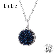 LicLiz 2019 New 925 Sterling Silver Blue Sunstone Pendant Necklaces for Women White Gold Jewelry Link Chain LN0447
