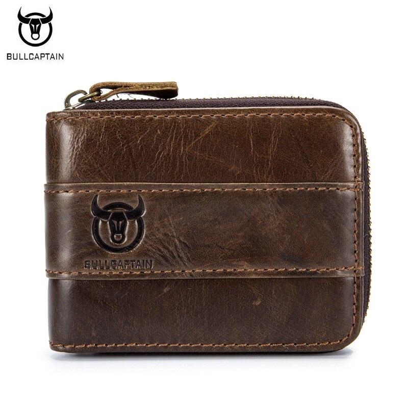 BULLCAPTAIN Vintage Genuine Leather Men Wallet Short Unique Design Wallets Male Zipper Coin Purse Card Holder