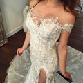 2016 Sexy Appliques Beads Mermaid Wedding Dress Side Slit Floor-Length Vestido De Noiva Robe De Mariage Mermaid Wedding Dresses