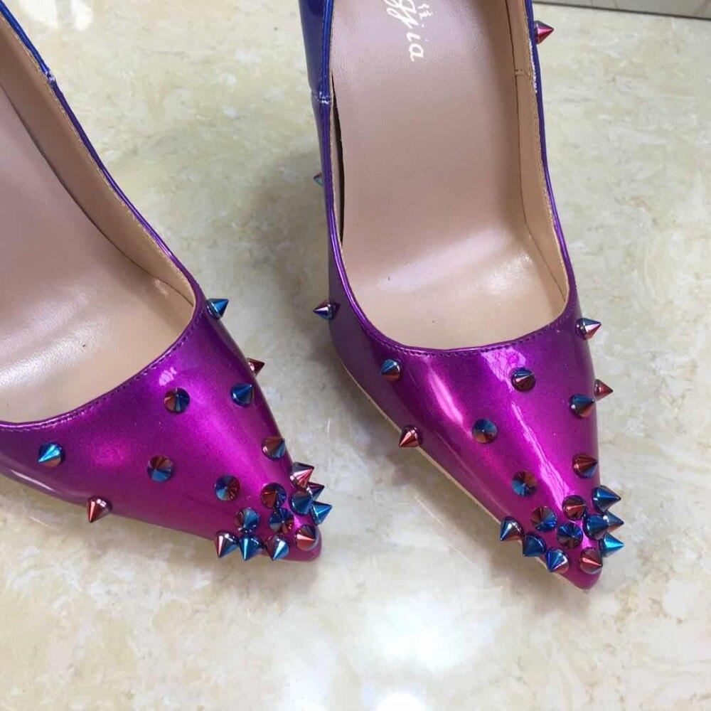Keshangjia Patent Leder heels Schuhe Spitz Frauen Pumpen Niet Verzierte Für Hochzeit Party Kleid Stiletto Frau Größe 35  45-in Damenpumps aus Schuhe bei  Gruppe 2