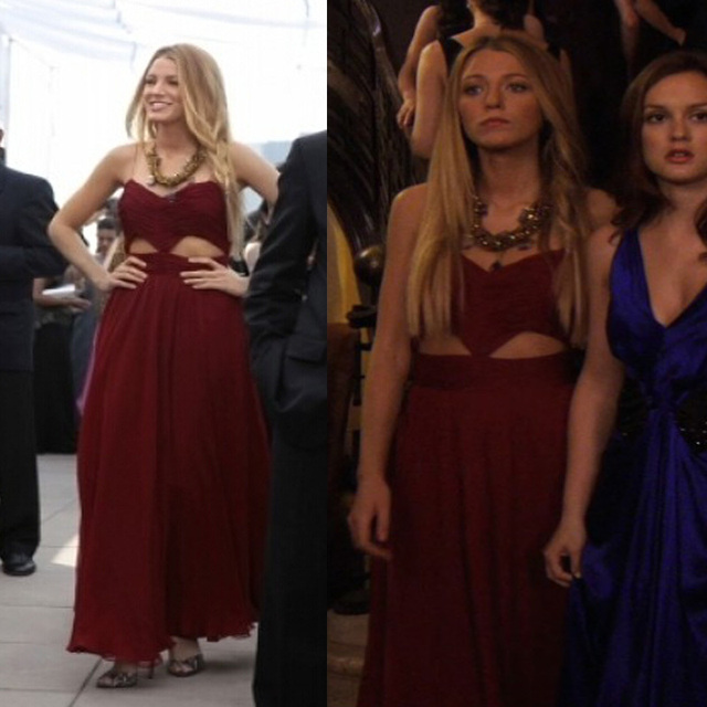 Unique Y Inspired Blake Lively Serena Burgundy Chiffon Cut Out Prom Dress Gossip