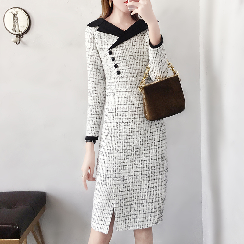 2019 Spring New Tweed Dress Women Vintage Autumn Wool Dresses Women Elegant V Neck Long Sleeve Woolen Vestidos Female Slim Robes