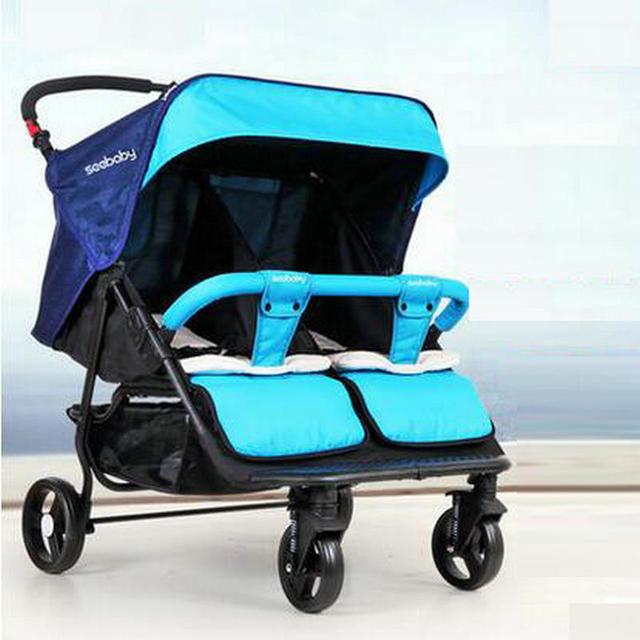 Dobrado carrinho de gêmeos para 0-4years velho moda bebê gêmeos carrinho de bebê gêmeos carrinho de bebê de tecido de linho protable multi-cor