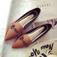 Корейский известный бренд острый носок Неглубокие тонкие туфли Для женщин большой размер 41 суперзвезда украшения из металла Туфли без кабл...