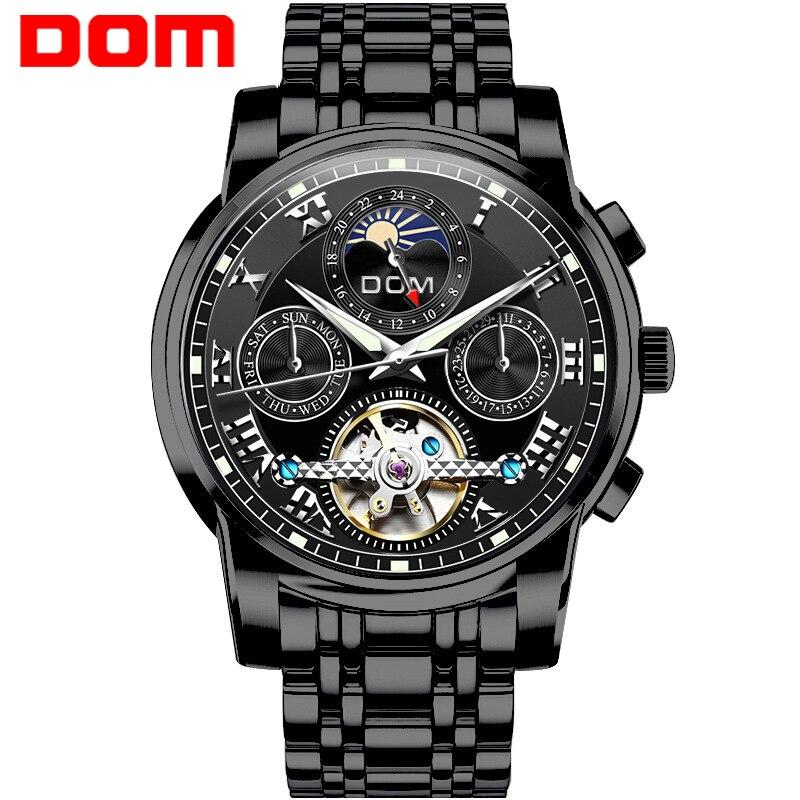 Men's Watch Mechanical Automatic Stainless Steel Tourbillon Man Watch DOM Brand Men's Wristwatches Waterproof Moon Phase