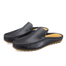 Urban Men Driving Shoes Luxury Brand Shoes Summer Men Shoes Backless Loafers Open Backs Shoes Without