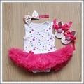 Newborn Summer Dress Bodysuit Romper Sleeveless Tulle Jumpsuit Flower Headband and Shoes 3pcs/Set LS013