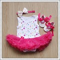 Vestido de Verano recién nacido Mameluco Del Mono Sin Mangas de Tul Mono Diadema de Flores y Zapatos 3 unids/set LS013