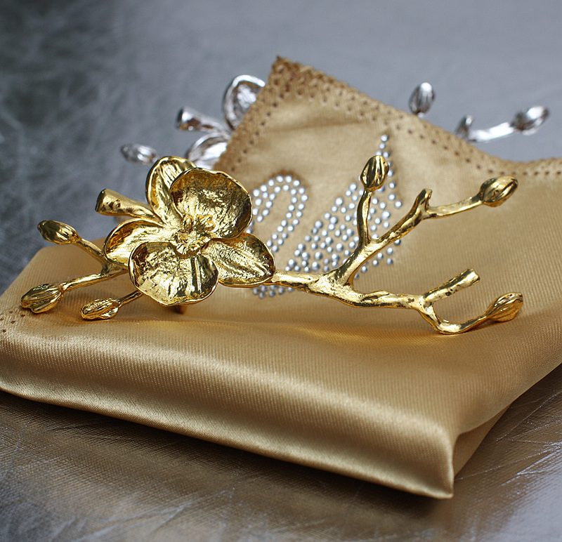 10 stks hoogwaardige gouden pruim servetring, bruiloft hotel servet - Keuken, eetkamer en bar