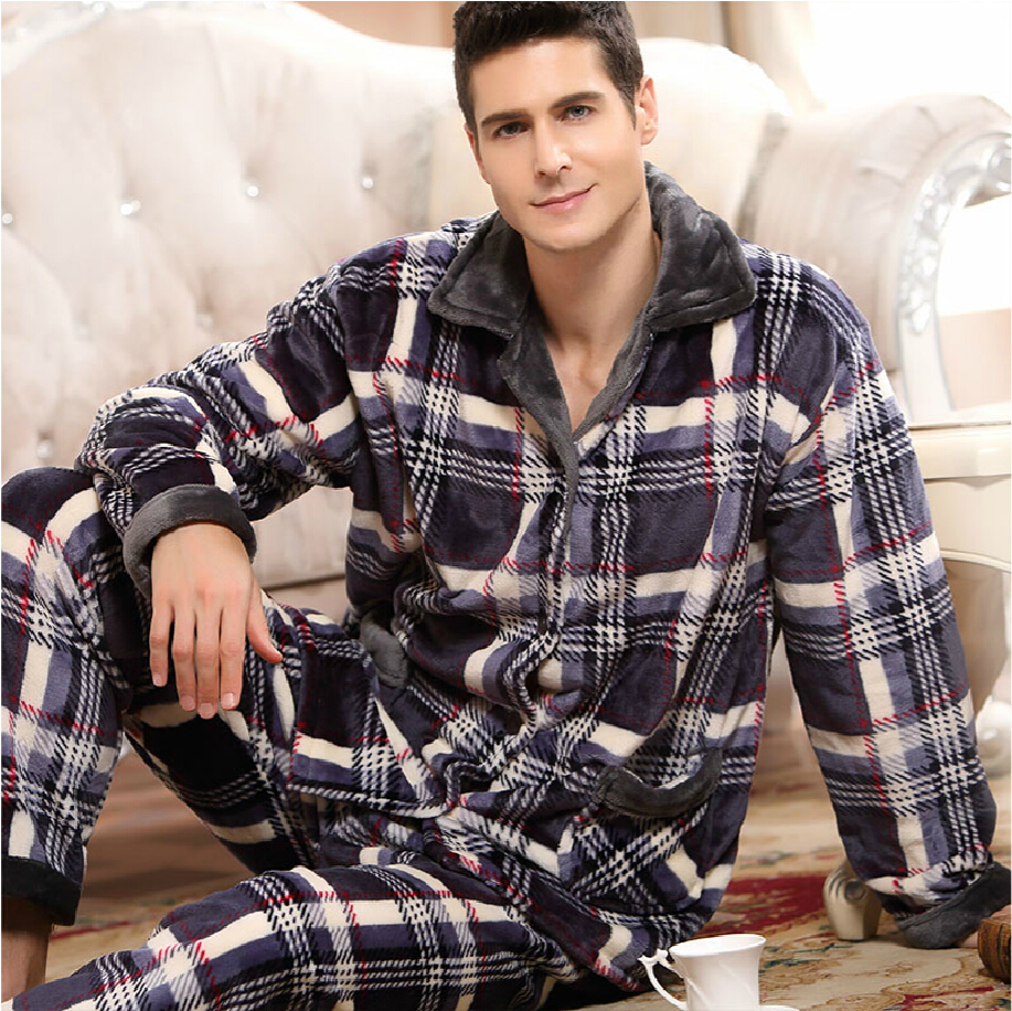 Mens Pyjamas Set Warm Long Check Bottoms Pjs Lounge Pajamas Fleece Winter Warm