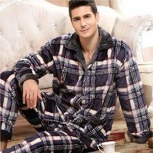 Thoshine Winter Thick Coral Fleece Men Pajamas Sets