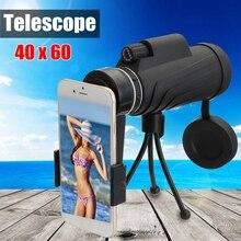 waterproof Monocular 40X60 Zoom Optical HD Lens Telescope + Tripod + Mobile Phone Holder night vision Camping Hiking Fishing