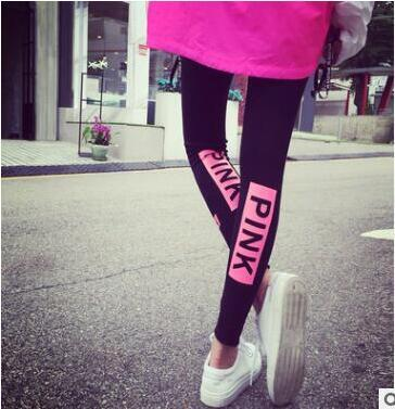 2017 Korea Women pencil pants spring VS PINK printed clothing ankle length trousers female pink skinny legging pants black