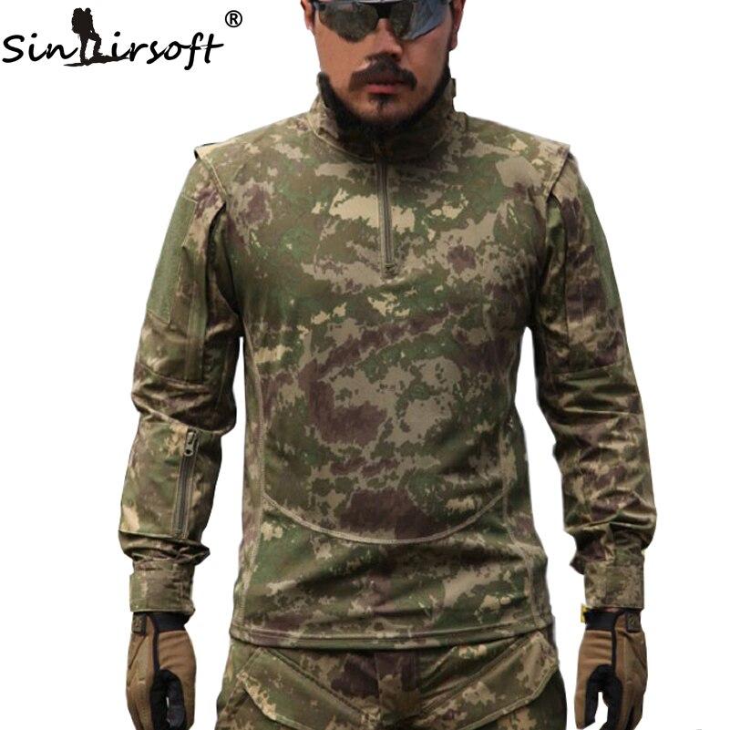 ФОТО SINARISOFT TACTICAL Men Military Outdoor Tactical Shirts Bionic Camouflage Summer Autumn Shirt Urban Police Training Shooting