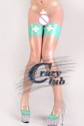 Sexy womens transparent latex corset stitching greenish legs nursing uniforms sexy latex stocking latex pantyhose Hot Sale