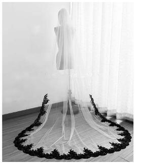 Wedding Accessories 1t Ivory White Wedding Veil Cathedral Bridal Veils Stock+Comb Long Black Lace Veil Custom 3m