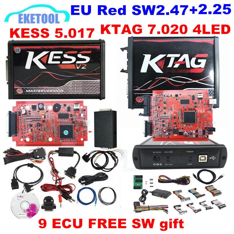 DHL FAST KESS V2 47 KTAG V2 25 7 020 4LED Red PCB EU Version KESS