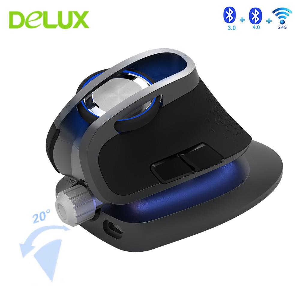 Delux m618x 2.4 ghz sem fio + bluetooth 3.0/4.0 multi-modo mouse recarregável ergonômico vertical computador usb jogos 6d ratos