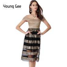 Young Gee 2019 NEW Women Bandage Dress Off Shoulder V-Neck Drop Sequined Vestido Sexy Midi Celebrity Evening Party Club Dresses