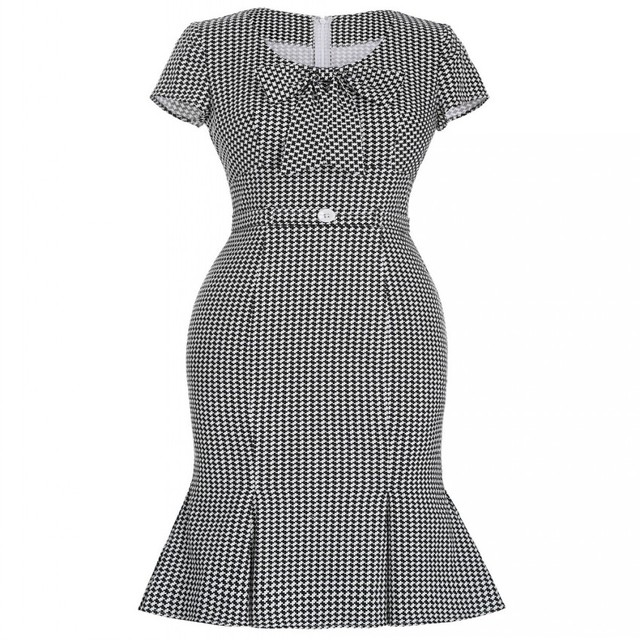 Autumn Houndstooth Bow Vestidos Pin Up 1950s 60s Rockabilly Style Retro  Robe Vintage Casual Party Plus Size Mermaid Dress Sleeve 486e45e28ee7