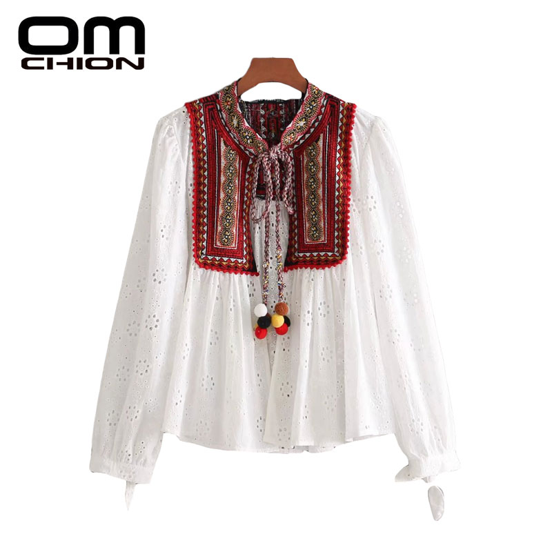 e193d9d9ee88 OMCHION Folk Ball Ornaments Spring Summer Tops 2018 Retro Patchwork  Embroidery Blouse Women Long Sleeve Blusa Feminina LK120-in Blouses   Shirts  from ...