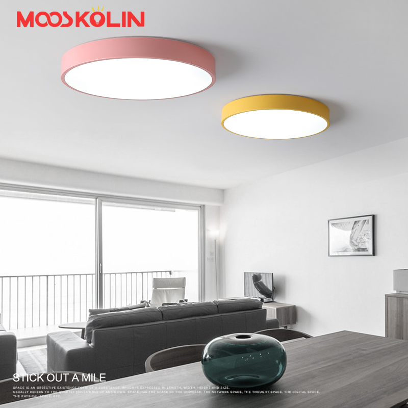 Macaron ultra-thin Modern Round LED ceiling lights Pink/Yellow Body ceiling Lamp For living room kids room bar lamparas de techo 2018 new macaron color led ceiling lights round 5cm ultra thin ceiling lamp for bed children s room led lamp lamparas de tech