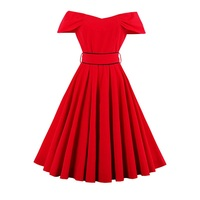 Sisjuly Vintage Dress 1950s Style Spring Pin Up Women Party Red Dress Summer Elegant Strapless Sexy