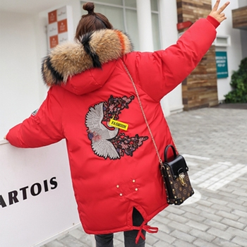 Brieuces Winter Jacket Women coat New Fashion Casual Fur Hooded Medium Long Cotton Thicken parka Embroidered Winter outerwear недорого