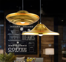Modern Golden UFO Shape Pendant Lamp Luminaire Suspendu Nordic Vintage Industrial Hanging Lights Loft Bar Parlor Lighting(China)