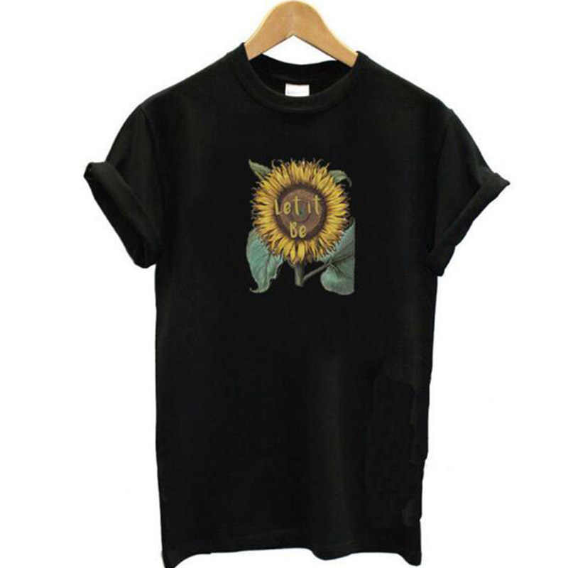 それはグラフィック女性 Tシャツひまわり美的 Tシャツクリスチャンイエス Tシャツ女の子精神的なストリートドロップシッピングトップス