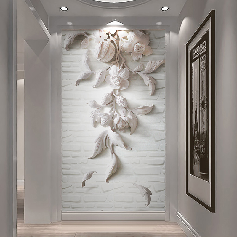 Custom Mural Self Adhesive Wall Paper Brick Wall Embossed 3D White Floral Living Room Entrance Hallway Wall Decor Sticker Flower