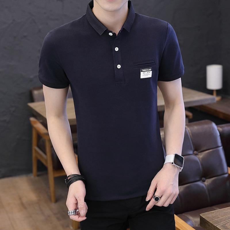 Mens Polo Shirt Summer Style Men Business Casual Solid Color Short Sleeve Polo Shirt Slim Cotton Polo Shirt Men Fake Pocket 15