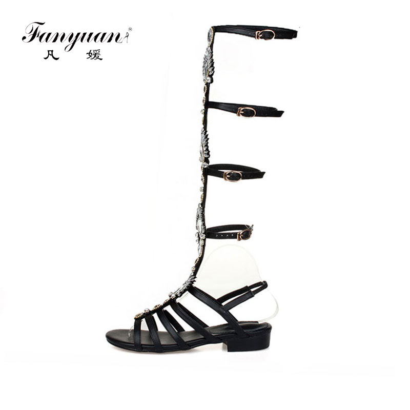 Fanyuan Leather Flat Sandals Women Rhinestone Gladiator Sandals Women Designers Knee High Buckle Strap Shoes Summer Boots BlackFanyuan Leather Flat Sandals Women Rhinestone Gladiator Sandals Women Designers Knee High Buckle Strap Shoes Summer Boots Black