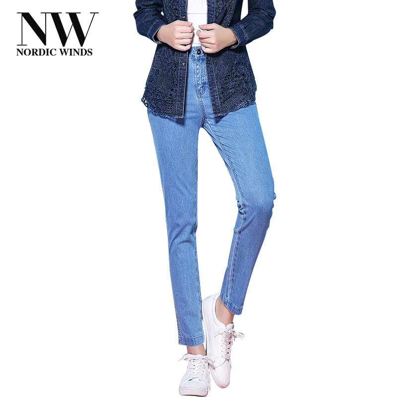NordicWinds Skinny Jeans Femme Big Size Stretch Pencil Thick Jeans Women Denim Trousers Full Length Jean Pants for Autumn Winter tangnest skinny candy pencil jeans pants women 2017 ladies trousers mid waist full length zipper stretch pant for femme wkp004