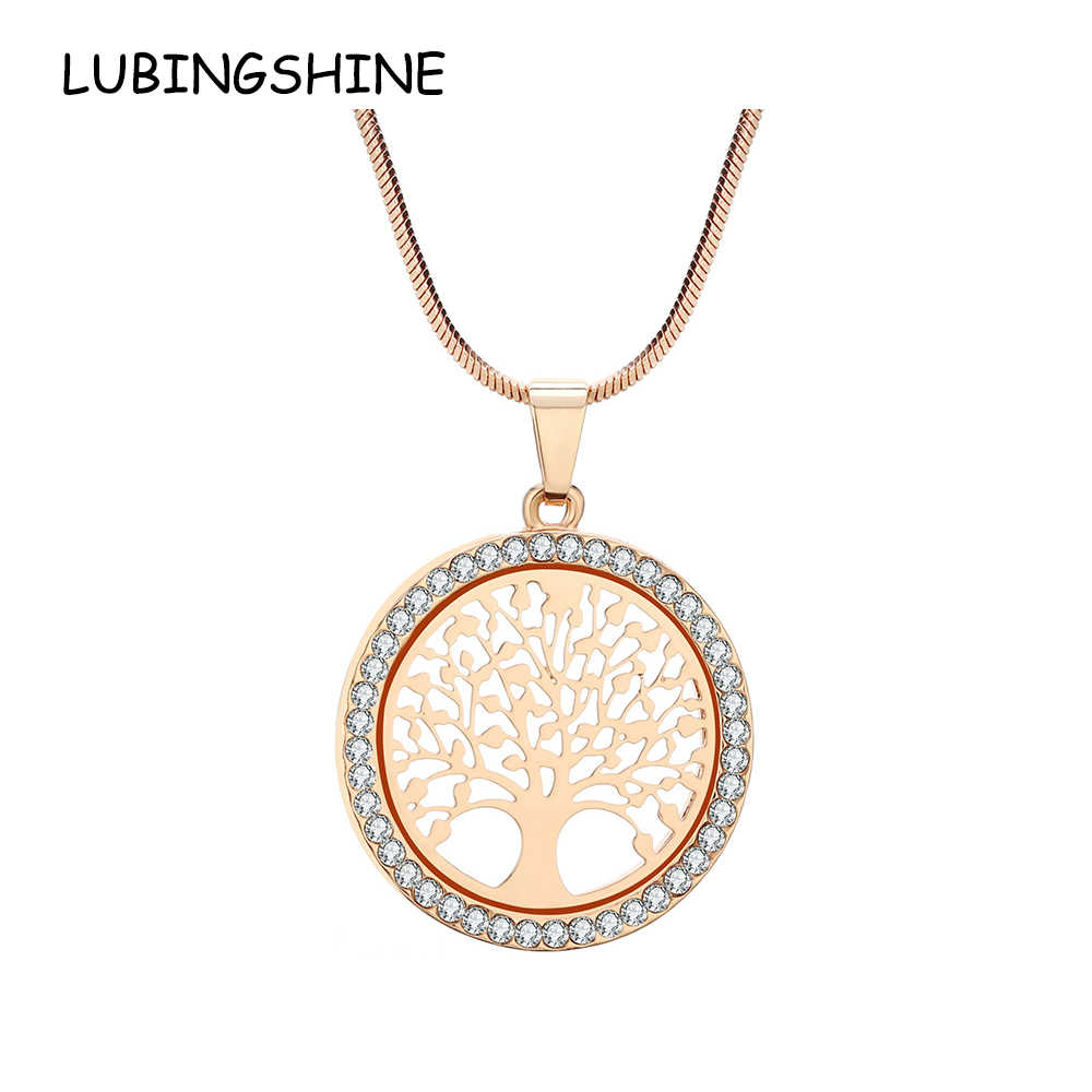 LUBINGSHINE Tree of Life Pendant Chain Necklace for Women Gold Color Rhinestones Girls Bridal Wedding Collar de joyas