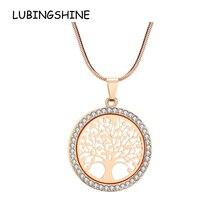 438b7a9e4f46 LUBINGSHINE colgante Árbol de la vida Collar de cadena para las mujeres de  Color oro de diamantes de imitación chicas Boda nupci.