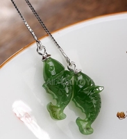 Beautiful 925 Sterling Silver Green HeTian Jade Carving Cute Fish Dangle Lucky Ear Line Earring Girl's Gift Earrings Jewelry
