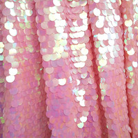 RUBIHOME 1 Meter Width 130cm 18mm Pink Big Sequins Fabric for DIY Sewing Home Wedding Dress Stage Decoration