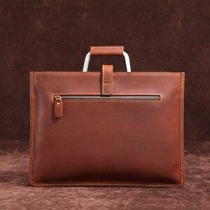 Image 2 - Haute qualité Vintage cheval fou en cuir Document sac mode Horizontal A4 hommes sac à main en cuir véritable mince mallette