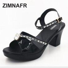 woman sandals 2017 summer fish mouth high heel sandals female rough rhinestone soft genuine leather non-slip woman's sandals