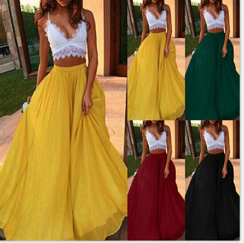 Spring And Summer Chiffon Maxi Skirts For Women 2019 Bohemian A-line Red Pleated Skirt Solid Black Long Skirt
