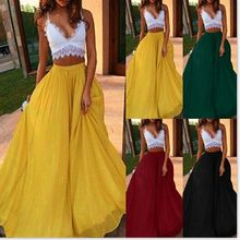 Spring And Summer Chiffon Maxi Skirts For Women 2020 Bohemian A-line Red Pleated