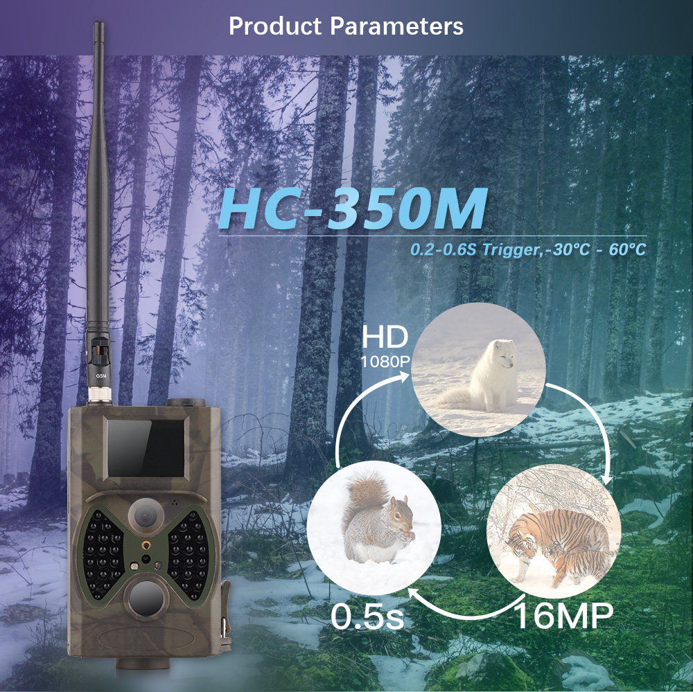 16MP 사냥 흔적 카메라 0.5S 트리거 1080P와 HC-350M 야외 야생 사냥 비디오 카메라 GSM MMS 사진 트랩 16mp
