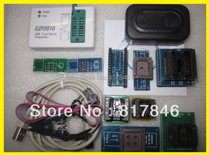 Free Shipping EZP2010 Programmer USB SPI Programmer support 24 25 93 EEPROM flash bios chip+SOIC8 Clip IC Clamp+9Adapter SSOP8
