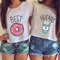 Women Cute Cartoon Sexy Kwaii BFF irregular Tumblr Blusas White Printed Harajuku Best Friends Couple Crop Tops Plus Size WCT33
